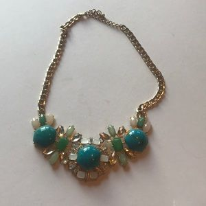 Boutique gold turquoise green statement necklace